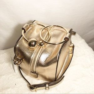 Nine West Gold Faux Leather Square Box Crossbody